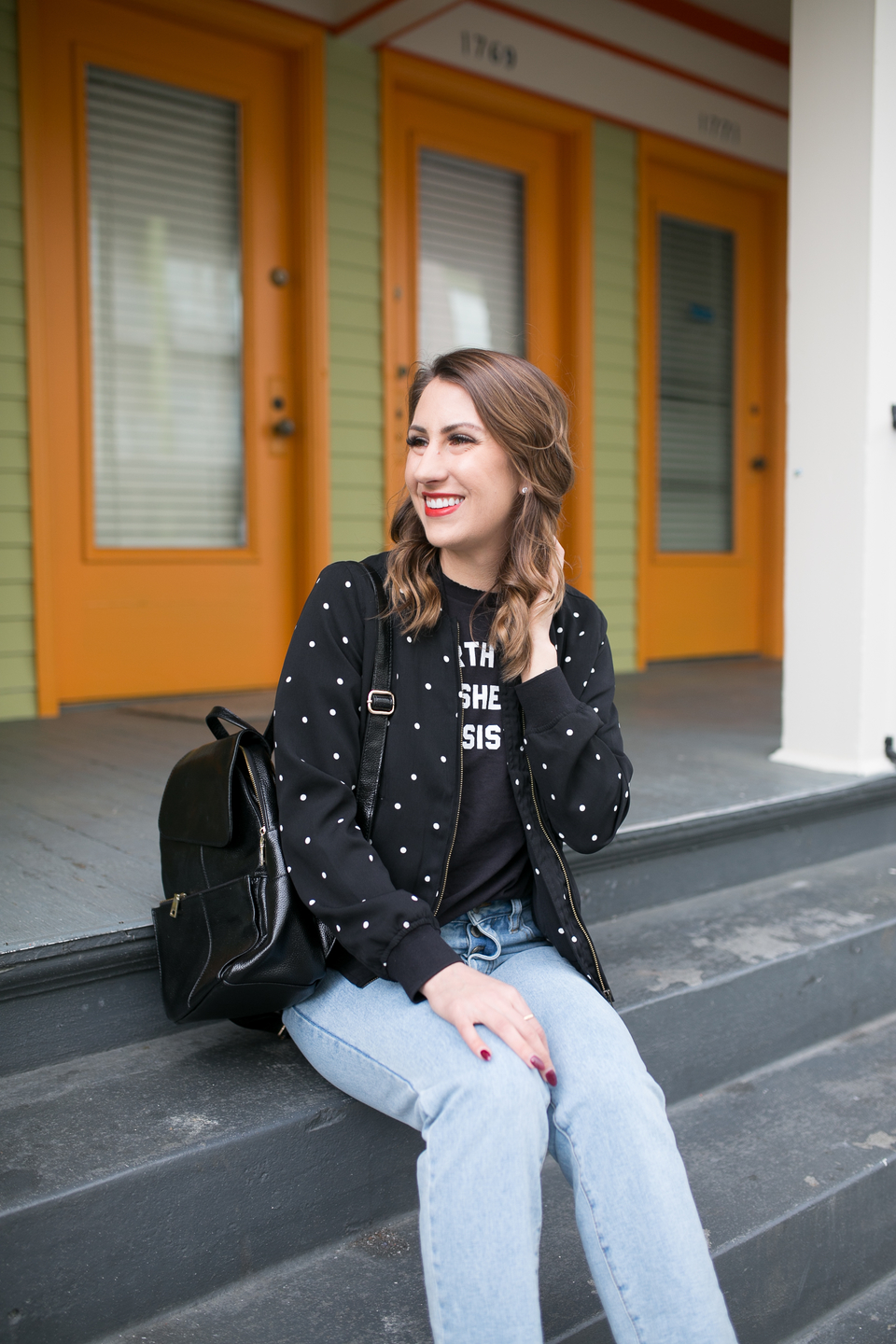 bomber jacket, polka dot jacket, seattle fashion blogger
