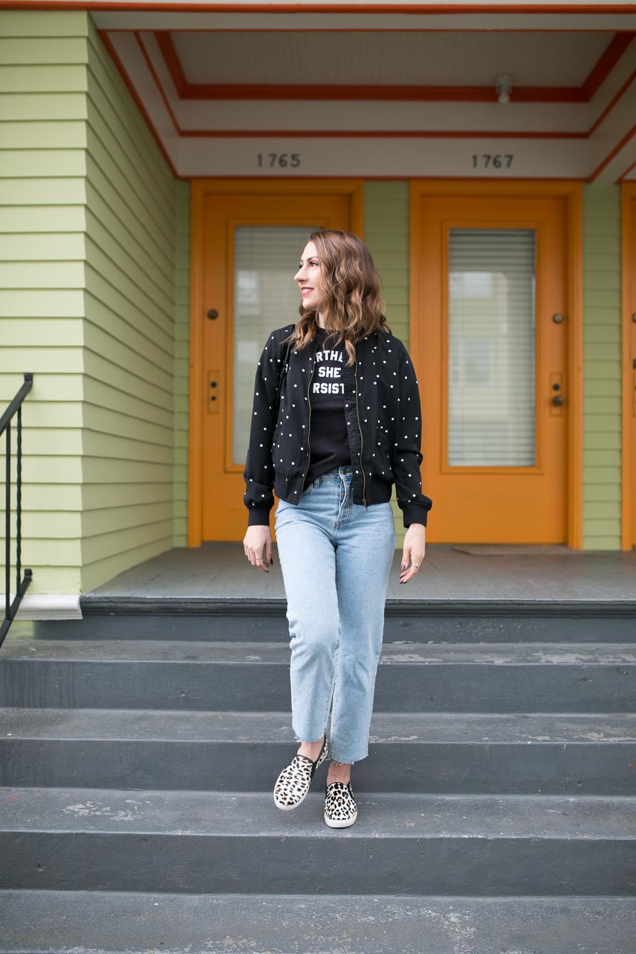 seattle fashion blogger, seattle blogger, polka dot jacket