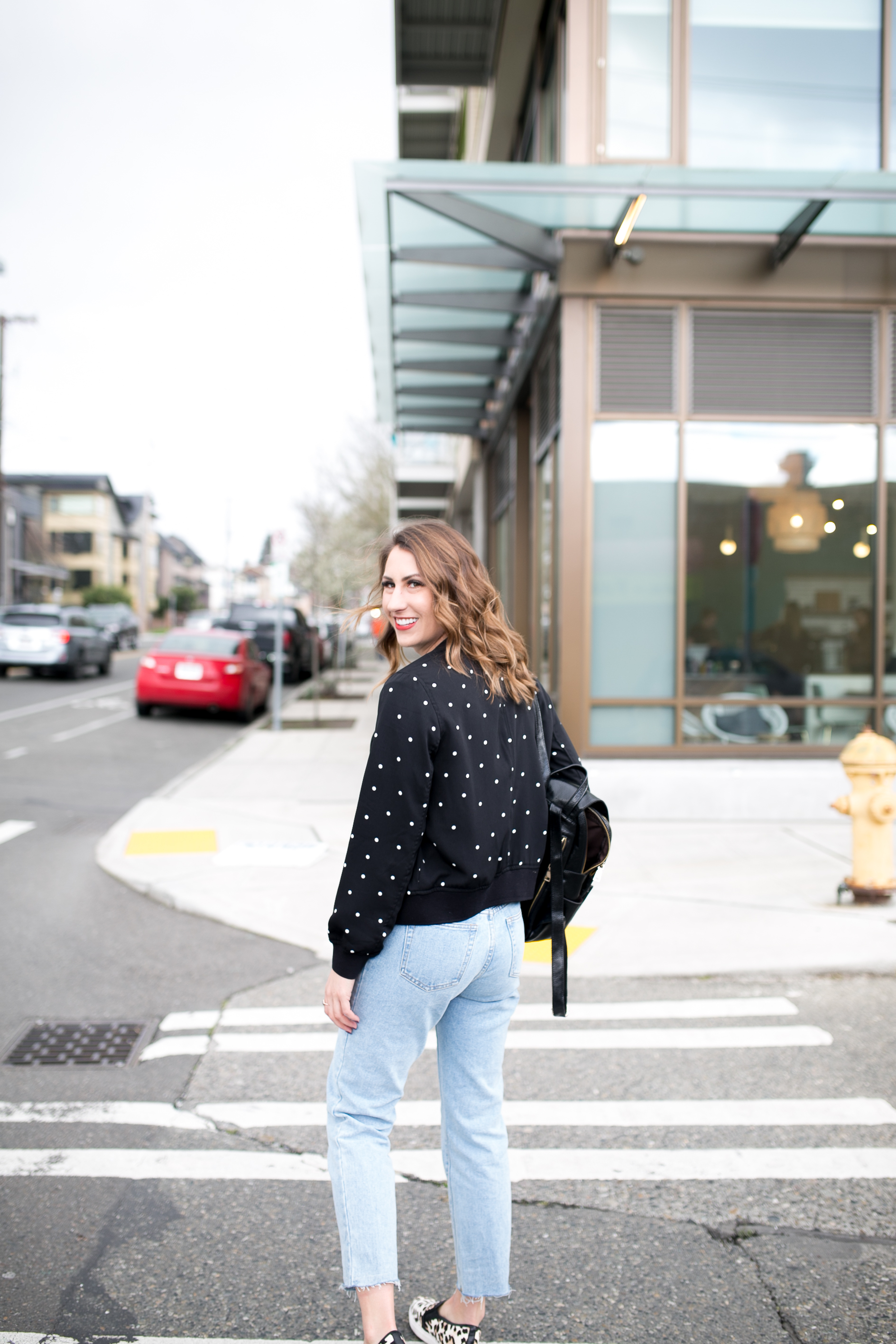 seattle blogger, seattle fashion, polka dot jacket, bomber jacket