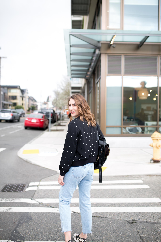 seattle blogger, seattle fashion, polka dot jacket, bomber jacket