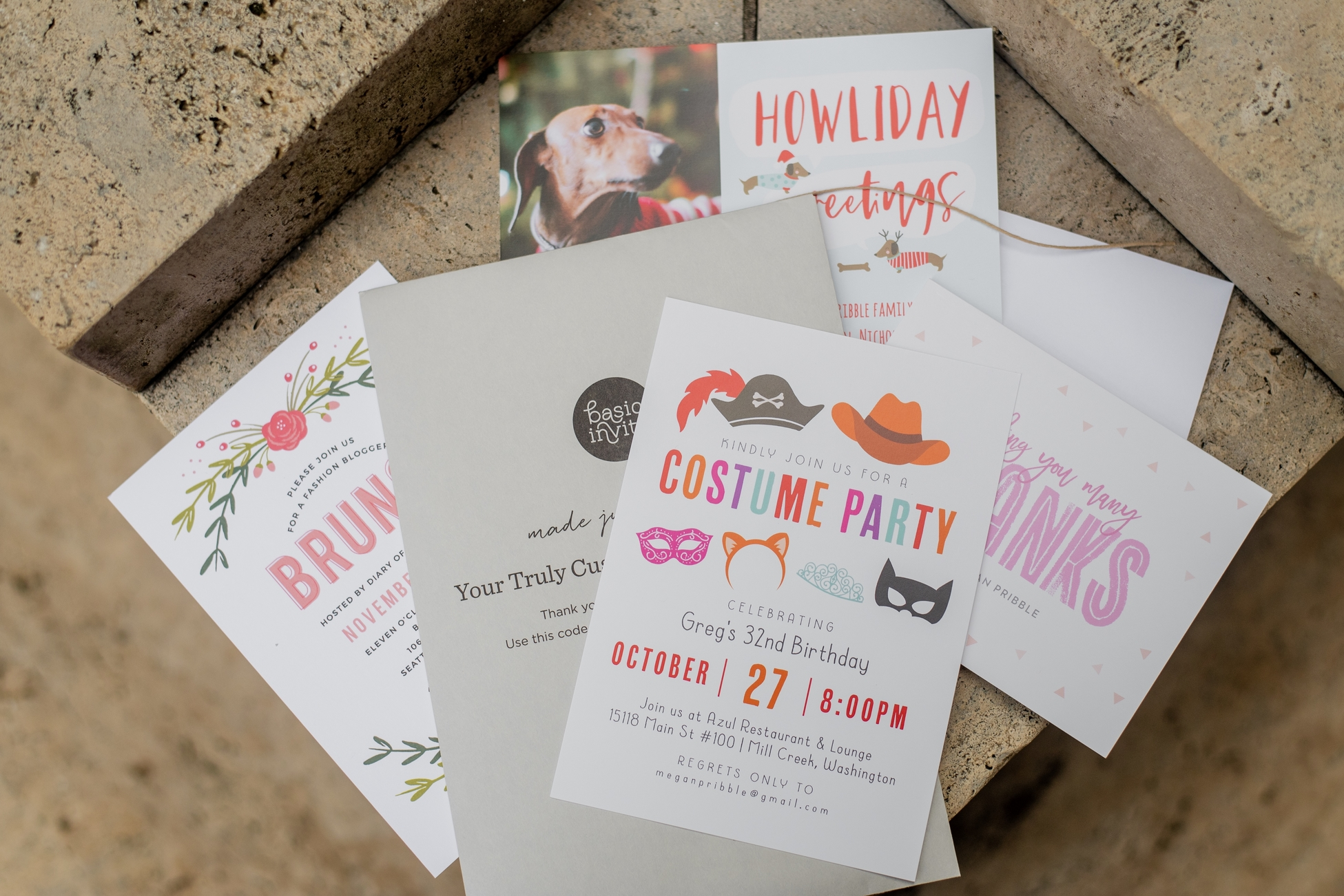 basic invite, greeting cards