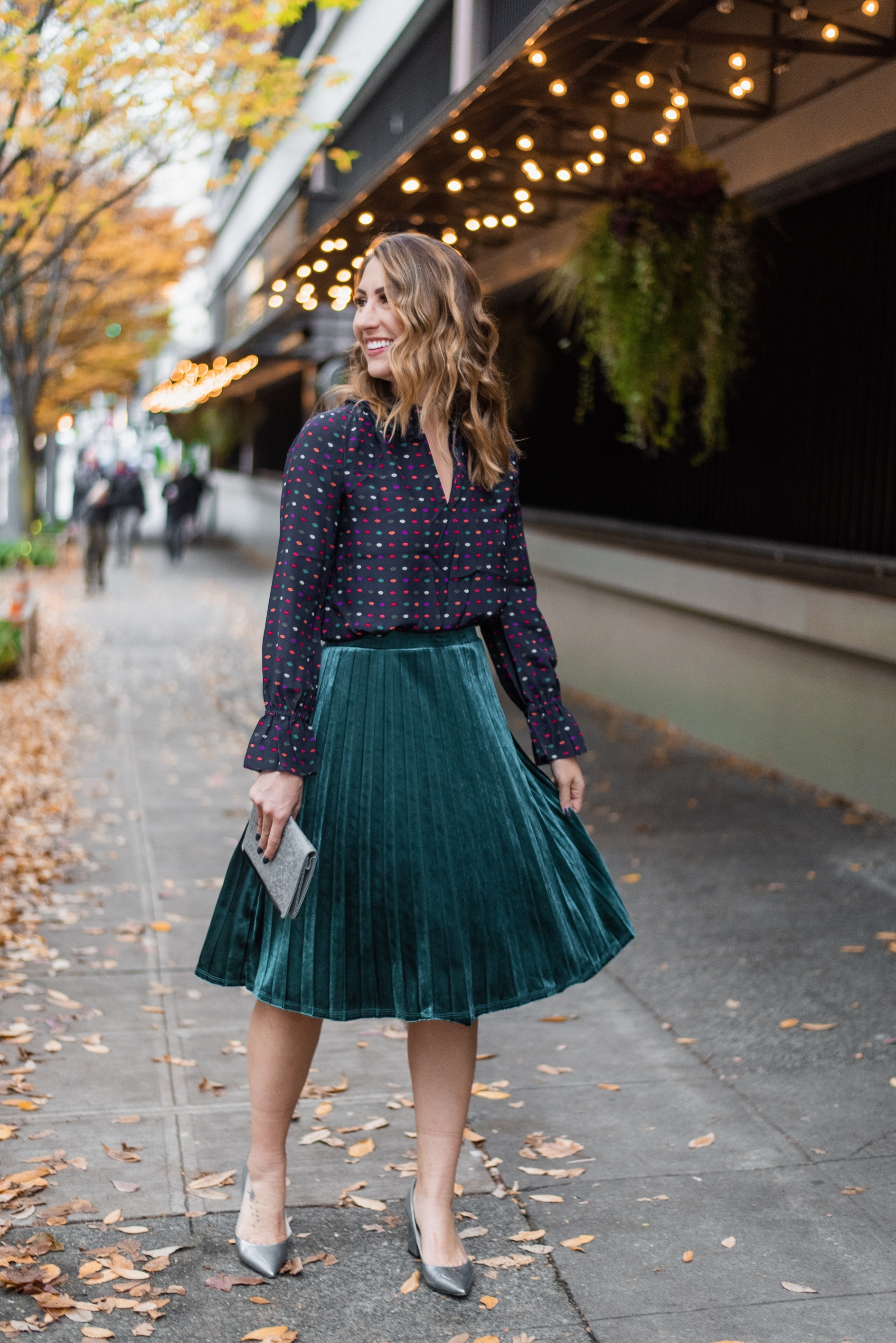 velvet pleated skirt, fashion blogger seattle, diary of this girl megan